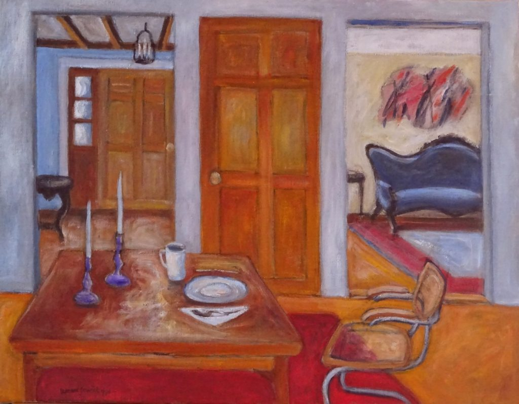 Interior of New England home,22X28 inches, acrylic by Leonard Gerwick
