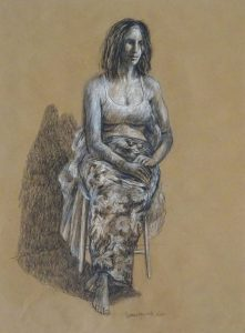 Charcoal pencil and conte drawing of a woman in a chair with her hands on her lap, 24X18 inches by Leonard Gerwick
