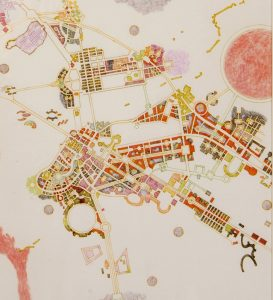 City of education, art and archeology by new England artist