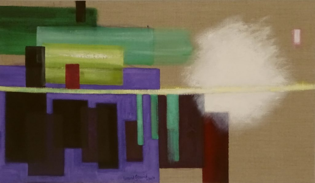 Abstract painting based on a construction scene of the buildong of a deck by a house by New England artist